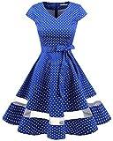 Gardenwed Damen 1950er Vintage Rockabilly V-Ausschnitt Retro Hepburn Stil Cocktailkleid Weihnachten Kleid Royal Blue Small White Dot 2XL