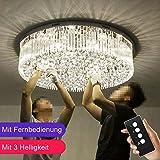 Wenrun Lighting Wohnzimmer LED 3 Helligkeit Klarer K9 Kristall Chrom Spiegel Edelstahl Runde Kronleuchter Deckenlampen Hängelampe Lüster Leuchte Lampe Licht Mit LED Glühbirne und Fernbedienung (D80cm x H23cm)