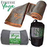 Yoga Mat Towel - Large Microfiber Travel Towel for Yoga, Gym, Sports and Meditation, Super Soft, Extra Grip, Highly Absorbent, Very Lightweight - by Finesse Yoga