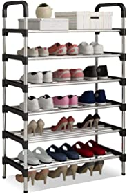 Shoes Rack Tower Shelf Stand Organizer Free Standing Stainless Steel Frame 6 Tier Holds 18 Pairs of Shoes for Home Hallway Bedroom Living Room