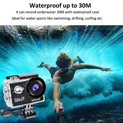ieGeek Wifi 2.0″ inch 1080P Full HD Sport Action Camera with Waterproof Case 170° Wide Angle Lens 12MP Outdoor Camcorder with Accessories Kits For Bike Motorcycle Surfing Diving Swimming Skiing Climbing etc, Black