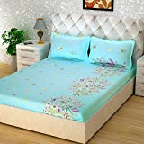 Story@Home Forever Premium 240 TC Cotton Bedsheet With 2 Pillow Covers - Floral, Queen Size, Light Blue And Cyan