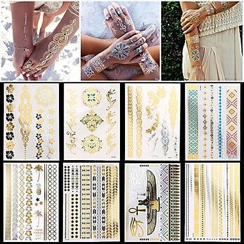 HJLWST® 8pcs nuevas mujeres del arte de cuerpo impermeable atractiva de cadena de joyería collar pulsera pegatinas tatuaje temporal de plata