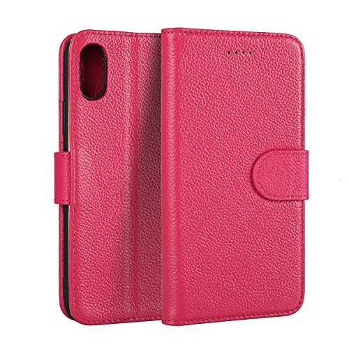 EKINHUI Case Cover Luxus Echtleder Holster Fall Litchi Skin Brieftasche Fall mit Stand & Card Slots & Magnetic Closure für iPhone X ( Color : Blue ) Rose