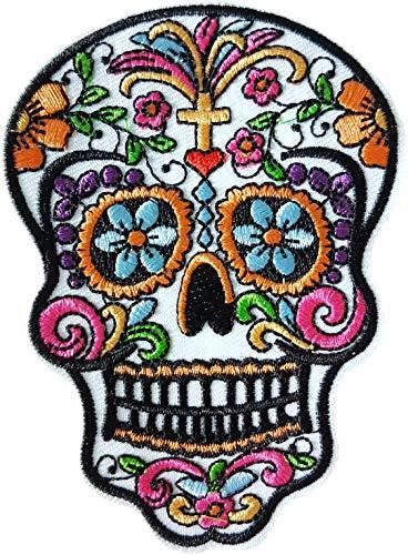 Cameleon-Shop 10 x 7,5 cm Totenkopf Mexikanischer Totenkopf Weiß Augen Blumen Blau Patch Biker Biker Motorradfahrer Schädel Skull Aufnäher Aufbügler