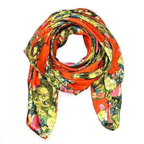 SCHLUSSVERKAUF: ManuMar Schal Afrika Gesicht Blumen Damenschal Tuch Scarf viele Farben! Weicher Schal als edles Accessoire! Weihnachtsgeschenk Freundin Damen