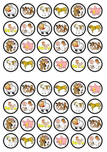 48 Farm Animals, Tiere auf dem Bauernhof, Essbare PREMIUM Dicke GEZUCKERTE Vanille, Reispapier Mini Cupcake Toppers, Cake Pops, Cookies für Wafer