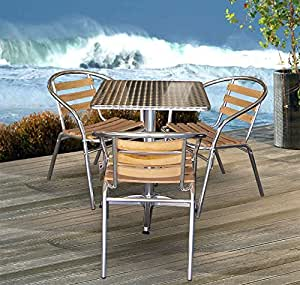4tlg bistro set gartentisch 60x60cm 3x aluminium bistrostuhl holzauflage. Black Bedroom Furniture Sets. Home Design Ideas