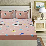 Akshya Kids Single bedsheet with Elastic Fitting Glace Cotton Material with Pillow Cover|Pink pish bedsheet