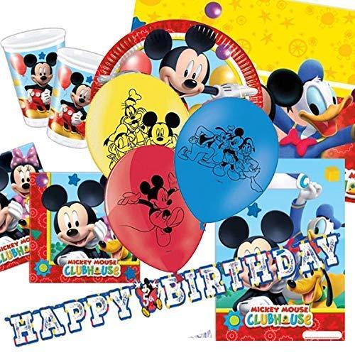 El Pack para fiestas del Playful Mickey carcasa, vasos, platos, servilletas, mantel de, guirnalda de banderines, 8 Mickey Mouse y brillante para, globos, bolsas de fiesta, confetti