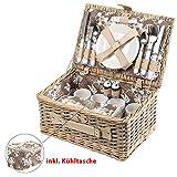 Picknickkorb mit Kühltasche, Blumenmuster braun-weiß, Picknick-Set für 4 Personen, 25 Teile