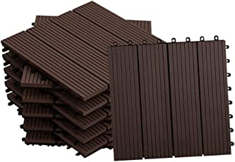MCTECH Fliesen WPC Kunststoff 30x30cm - Terrassenfliesen Balkonfliesen Klickfliese in Holz Optik Braun (22 Stück fur 2m², Braun)