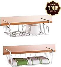 Desi Soch Stainless-Steel Wire Basket Under Cabinet Storage Shelf Organizer with Dual Fit Hook