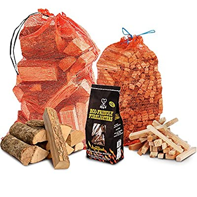 The Chemical Hut Fire Wood Pack- 15kg Hardwood Dried Logs + 3kg Kindling + 96 pk of Eco Firelighters - Comes with THE LOG HUT Woven Sack