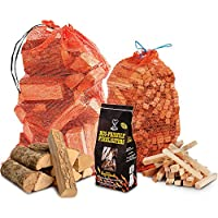 The Chemical Hut® Winter Fire Wood Pack- 15kg Hardwood Dried Logs + 3kg Kindling + 96 pk of Eco Firelighters - Comes with THE LOG HUT® Woven Sack