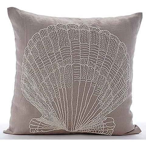 Moca Copertura Cuscini Decorativi, Perline Oyster Creature Marine Mare E Spiaggia A Tema 50x50 cm (Shell Accenti)