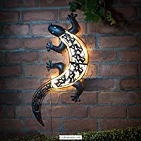 Solar Powered Bright LED Light Gecko Metal Garden Decoration Wall Art from Garden