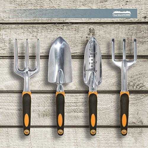 GardenHOME Gartenwerkzeug Set aus gehärtetem Edelstahl – Blumenkelle, Pflanzenkelle, Gabel und Winkelgabel