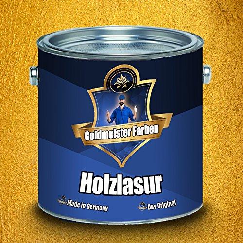 Goldmeister Farben Holzlasur meisterhafte Lasur in 12 verschiedenen Farbtönen Holzöl für Pflege von Holz (2,5 L, Pinie)
