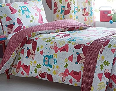 Kidz Club Children's Wildwood Single Bed Duvet Cover and Pillowcase Bed Set Bedding With Squirrels, Owls, Rabbits On, White