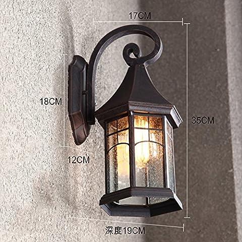 GNOW Wandleuchte Retro Outdoor Wandleuchte Europäische Wasserdichte Outdoor Lampe Gang Hof Lampe American Balkon Treppenhaus Außen Wand Terrasse Lampe, Antique Belt 6W