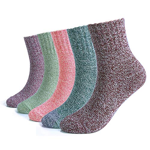 5 Pairs Women Winter Knitting Thicken Warm Cotton Socks Thermal Socks Assorted Patterns UK 4.5-7.5 EU 35-40