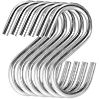 "PRODUCTMINE®  Stainless Steel Thick""S"" Shape Heavy Duty Type S Hook Hanger Hooks Organizer for Hanging Accessories  3 Inches in Length (Pack of 6)"