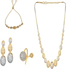 Cardinal American Diamond Stylish Latest Design Combo of Pendant Necklace Set with Earring/Bracelet/Ring and Chain for Women/Girls
