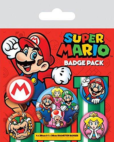 1art1 Set: Super Mario, Prinzessin Peach, Luigi, 1 X 38mm & 4 X 25mm Buttons Button Pack (15x10 cm) Inklusive 1x Überraschungs-Sticker (Luigi Und Prinzessin Peach)