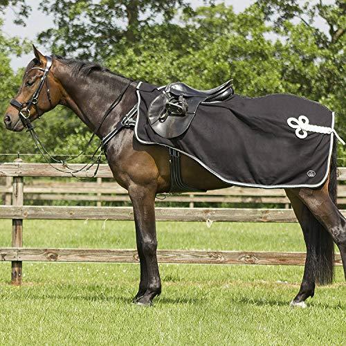 QHP Nierendecke Fleece-Ausreitdecke Eldorado, Sattelausschnitt Hinten mit Ornament in Kontrastfarbe, Q-Cross Line (M, Elegant)