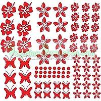 """Stickers Hibiscus """"Fiori e farfalle Set 75 pezzi"""" adesivo NB-0169-IT rosso"""