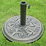 Parkland® Cast Iron Effect Parasol Base Umbrella Stand Garden Patio
