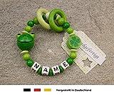 Baby Greifling Beißring geschlossen mit Namen - individuelles Holz Lernspielzeug als Geschenk zur Geburt Taufe - Mädchen Jungen Motiv Frosch in grün