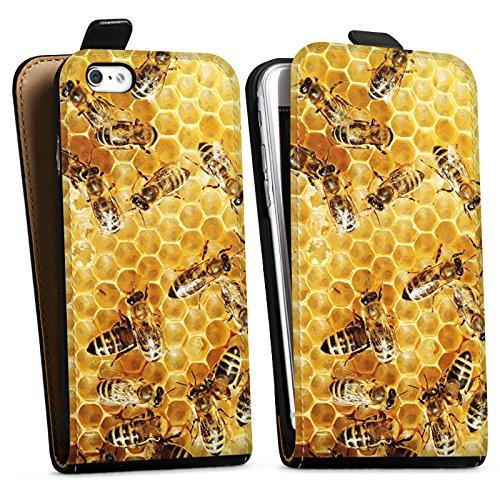 Apple iPhone 5s Hülle Case Handyhülle Bienen Biene Insekten Downflip Tasche schwarz