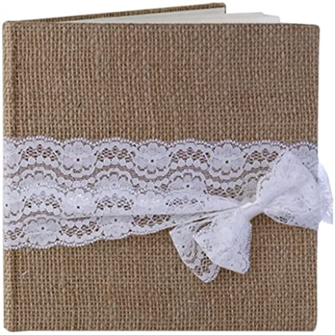 Wedding and Party Store-Libro degli ospiti, in iuta, colore: beige