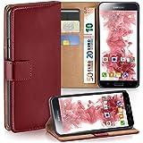 Samsung Galaxy S5 Mini Hülle Rot mit Kartenfach [OneFlow Wallet Cover] Handytasche Flip-Case Handyhülle Etui Kunst-Leder Tasche für Samsung Galaxy S5 Mini Case Book Schutzhülle