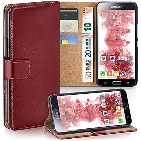 OneFlow PREMIUM - Book-Style Custodia con design portamonete e funzione stand per Samsung Galaxy S5 / S5 Neo - MAROON-RED