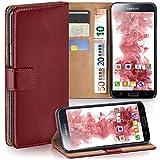 Samsung Galaxy S5 Mini Hülle Dunkel-Rot mit Karten-Fach [OneFlow 360° Book Klapp-Hülle] Handytasche Kunst-Leder Handyhülle für Samsung Galaxy S5 Mini Case Flip Cover Schutzhülle Tasche