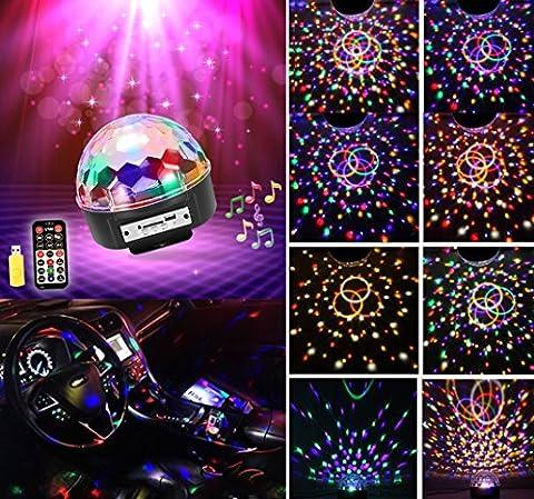 LED DJ Lichteffekte MP3 Discokugel RGB 9 Farbe Discolicht mit Fernbedienung Bluetooth Lautsprecher USB Sticker Projektor für Disco Halloween Weihnachten Party Geburtstag