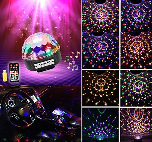MP3 Discokugel RGB 9 Farbe Discolicht mit Fernbedienung Bluetooth Lautsprecher USB Sticker Projektor für Disco Halloween Weihnachten Party Geburtstag Pusheng (Kleine Disco-kugel)