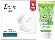 Dove Cream Beauty Bathing Bar, 100g (Pack of 8) & Lakme Blush and Glow Kiwi Freshness Gel Face Wash with Kiwi Extracts, 100