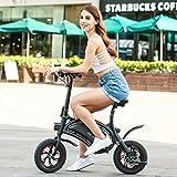 Mymotto Bicicletta elettrica pieghevole portatile - Ciclismo elettrico 20km - Linea con App di regolazione della velocità e ricarica rapida 36V 350W, colore: Nero