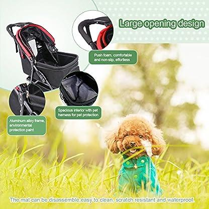 Pet Travel Stroller Three Wheels Cat Dog Pushchair Trolley,Puppy Carrier,Shockproof,Single Front Wheel 360° Rotation… 5