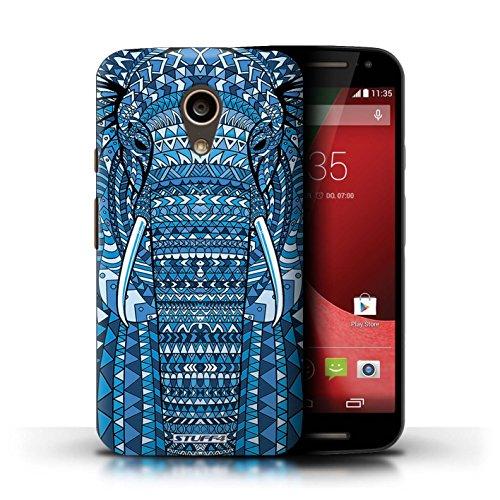 Kobalt® Imprimé Etui / Coque pour Motorola Moto G (2014) / Singe-Sépia conception / Série Motif Animaux Aztec éléphant-Bleu