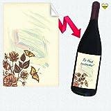 1 Flaschen-Etikett | Retro - Motiv: butterflies and flowers | Rechteckig | 8 x...