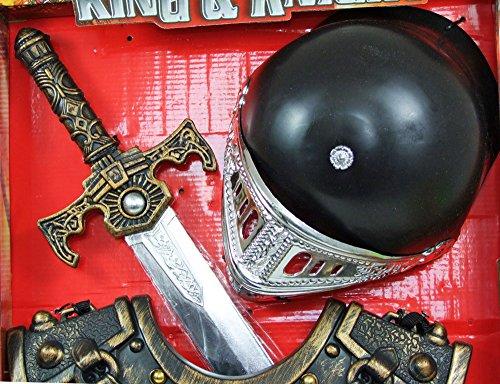 Ritter Kostüm Set 4-tlg. für Kinder – Goldfarben – Weapon Helm Brustpanzer Armschoner Schwert - 8