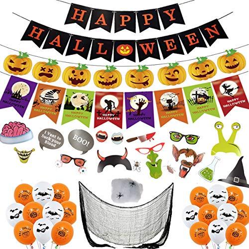 ANYUNKEY Halloween Deko Grusel Dekoration Set, Halloween Foto Requisiten, Luftballon, Spinnennetz mit Spinnen, Halloween Banner, Grobe Gaze ,Halloween deko Kinder, Familie, Partydekoration
