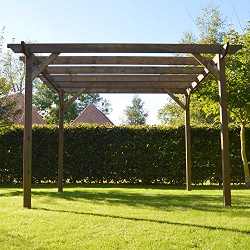 Rutland County Garden Furniture Wooden Garden Structure Pergola - Sculpted Rafter - 4 Posts (4.2m x 4.2m, Rustic Brown)