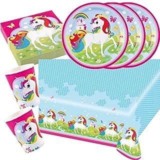 Amscan 37-Teiliges Party Set Einhorn Teller Becher Servietten Tischdecke für 8 Kinder
