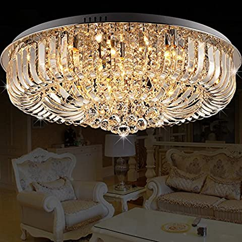 JiaYouJia Round Curved Chrome Crystal Flush Mount Ceiling Light Chandelier Pendant Lamps Fixtures, 500mmDia